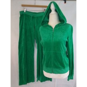 JUICY COUTURE Kelly Green Velour J Tracksuit XL
